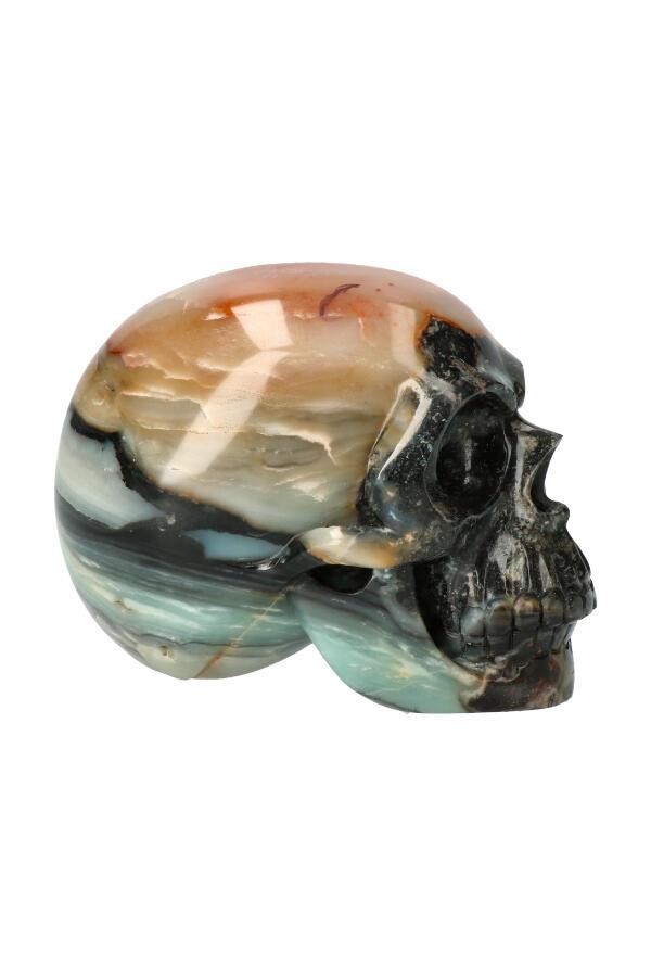 Amazoniet met Zwarte Toermalijn realistische kristallen schedel, 12.5 cm, 1.38 kg