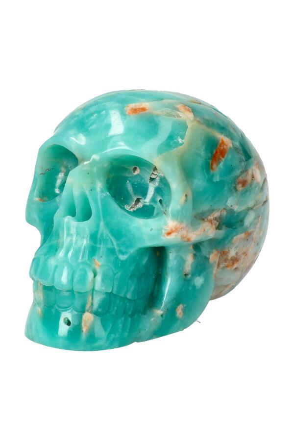 Amazoniet kristallen schedel, 10 cm, 580 gram