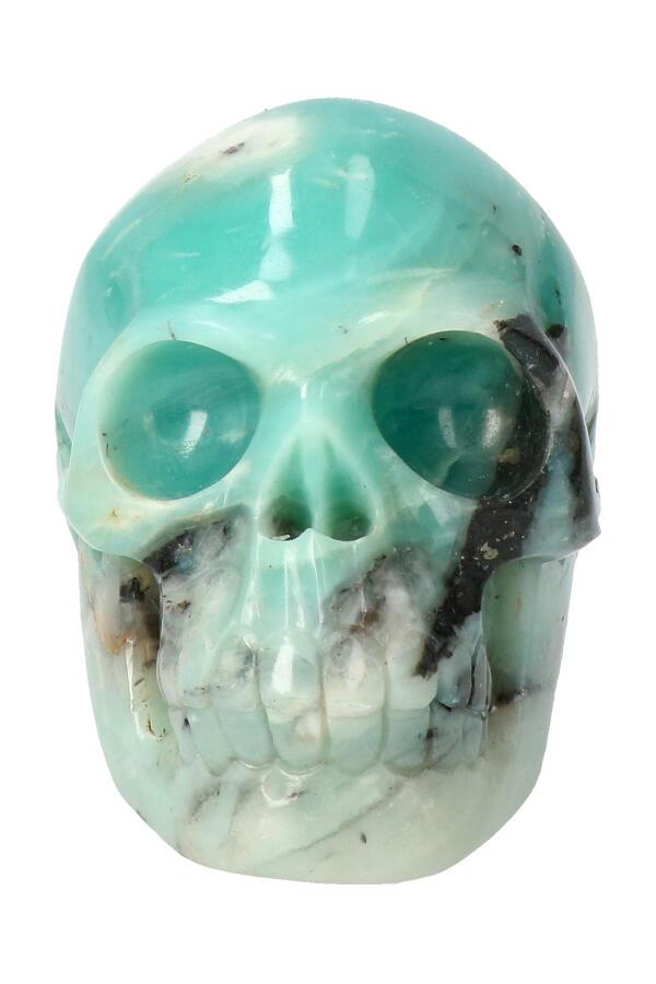 Amazoniet kristallen schedel, 8 cm, 308 gram