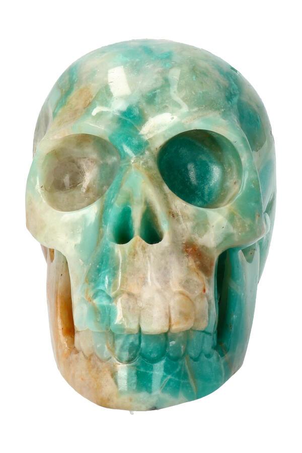 Amazoniet realistische kristallen schedel, 11.5 cm, 981 gram