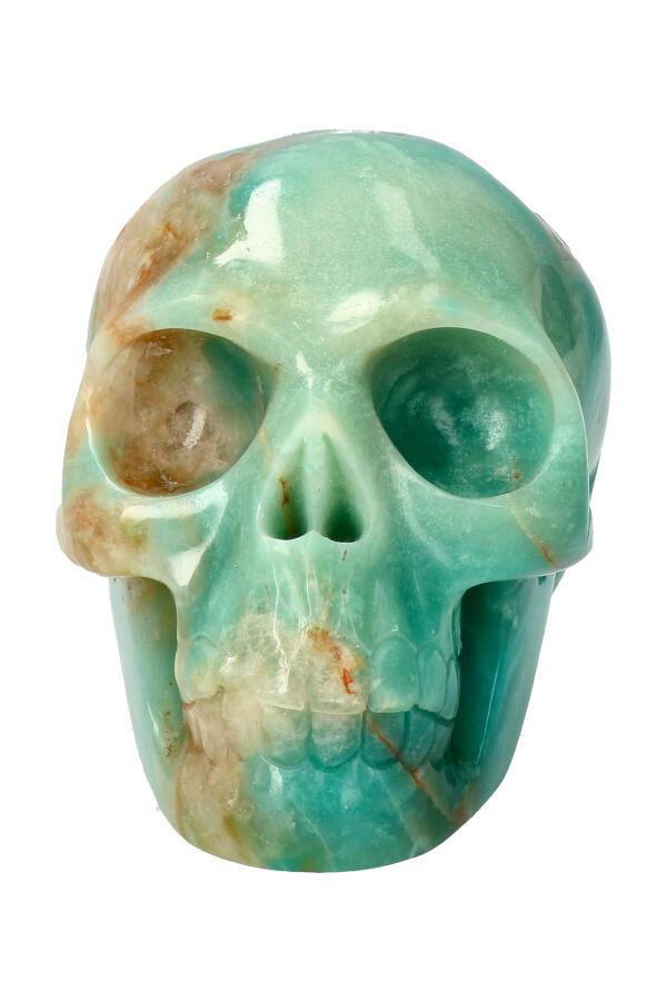 Amazoniet kristallen schedel, 9.5 cm, 602 gram