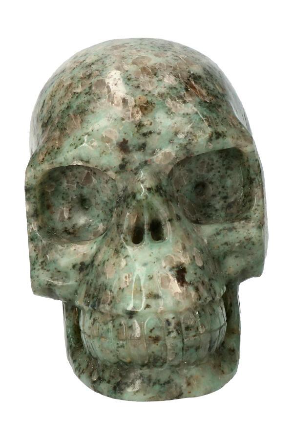 Kiwi Jaspis realistische kristallen schedel, 13 cm, 1.41 kg