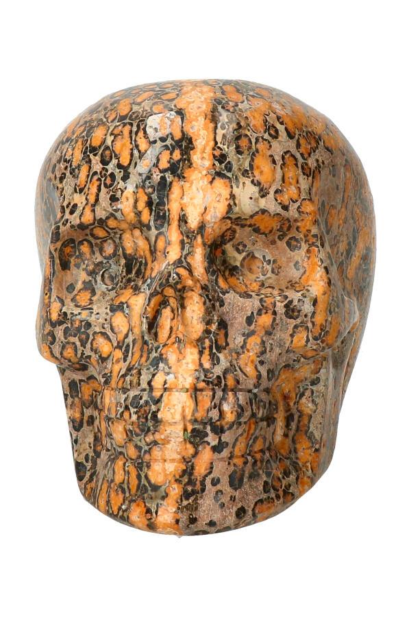 Luipaard Jaspis kristallen schedel, 9.5 cm, 529 gram