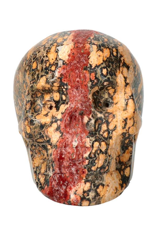 Luipaard Jaspis kristallen schedel, 9.5 cm, 555 gram
