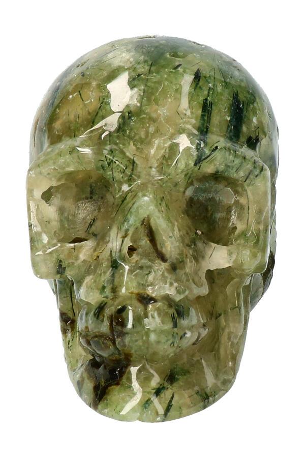 Prehniet kristallen schedel, 9 cm, 455 gram