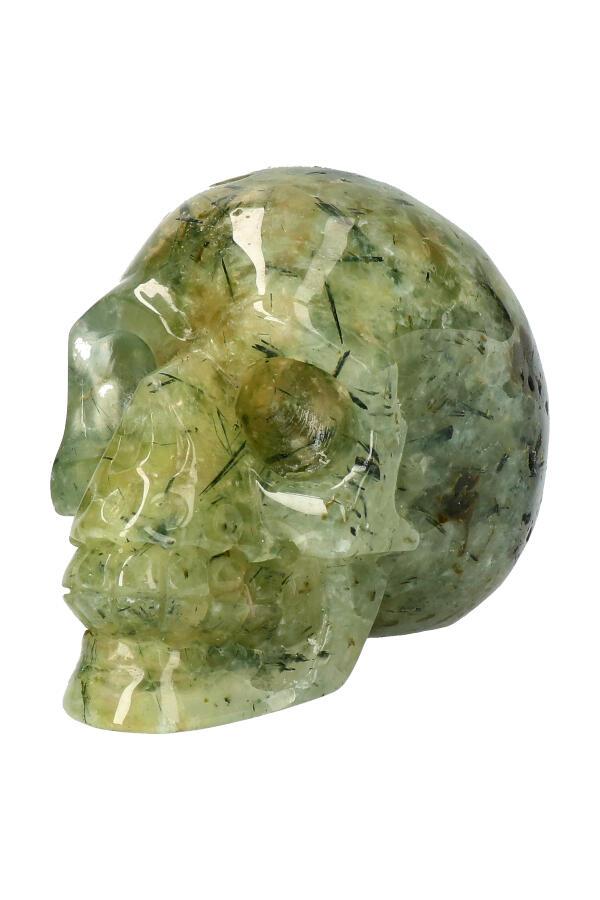 Prehniet kristallen schedel, 9 cm, 482 gram