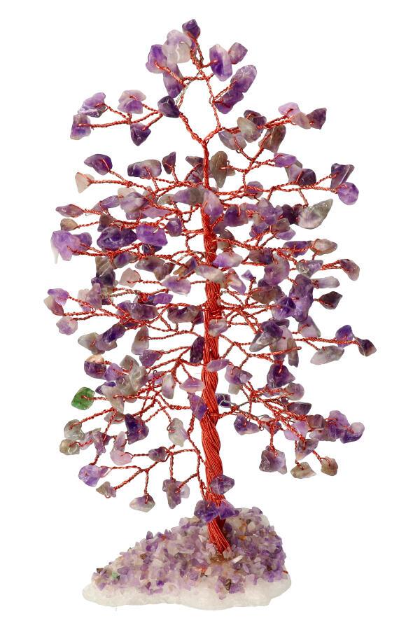 Amethist edelsteenboom op Bergkristal voet, 22-25 cm
