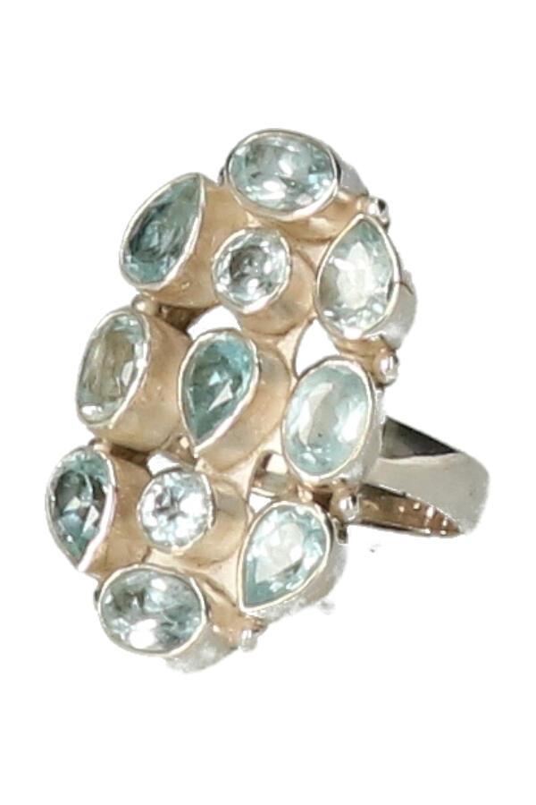 Aquamarijn ring, 925 sterling zilver, diverse maten.