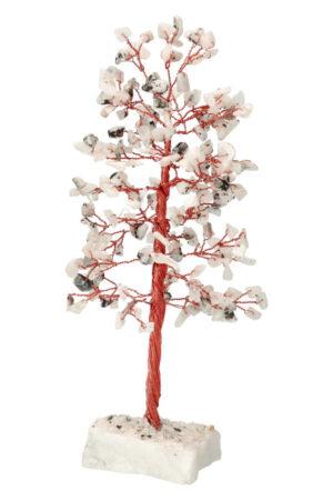 Regenboog Maansteen edelsteenboom op Bergkristal voet 22-25 cm
