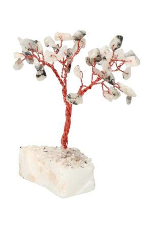 Regenboog Maansteen edelsteenboom op Bergkristal voet