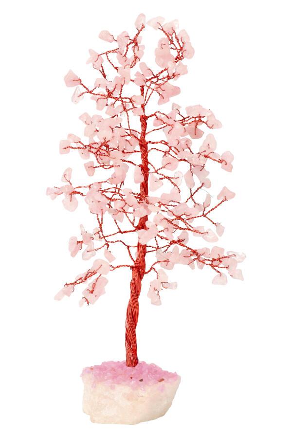 Rozenkwarts edelsteenboom op Bergkristal voet, 22-25 cm