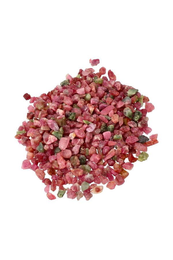 Roze en Groene Toermalijn ruwe chips,  zak van 100 gram tot 1 kilo, 0.5 tot 1 cm per steentje
