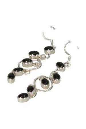 Zwarte Onyx zilveren oorbellen verticaal, 4 cm, 925 sterling
