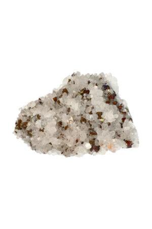 Chalcopyriet, Pyriet ruw specimen op bergkristal
