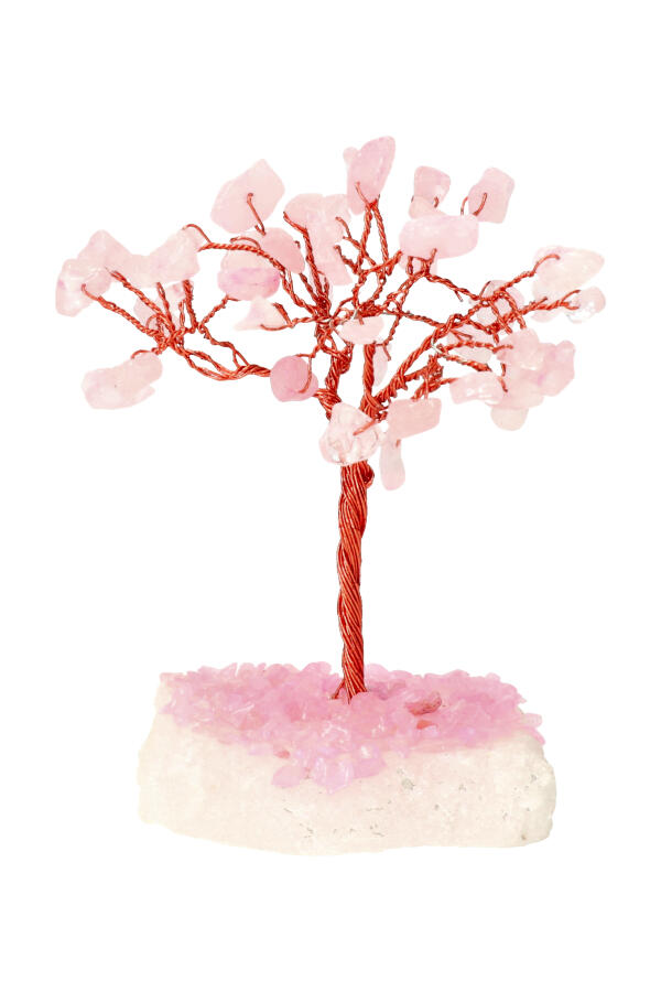 Rozenkwarts edelsteenboom op Bergkristal voet, 10-12 cm