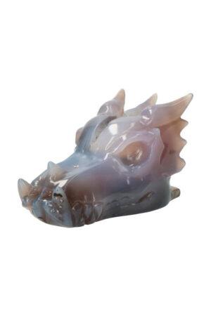 Agaat geode kristallen drakenschedel, 12 cm, 436 gram