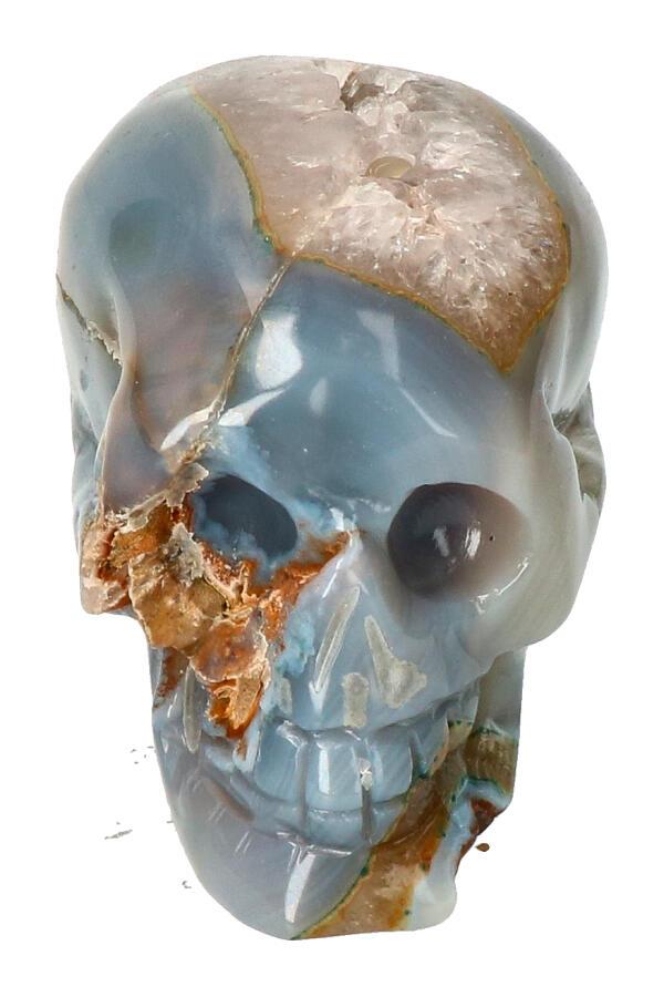 Agaat Geode Kristallen schedel, 8 cm, 327 gram