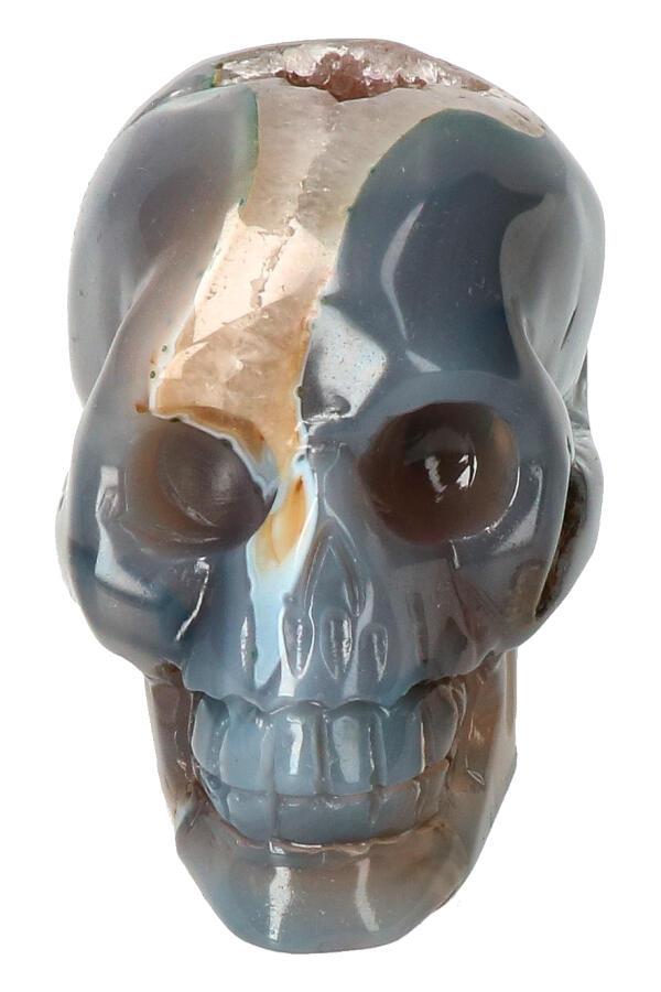 Agaat Geode Kristallen schedel, 9 cm, 346 gram