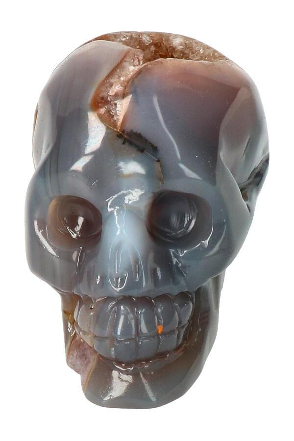 Agaat Geode Kristallen schedel, 8.5 cm, 369 gram