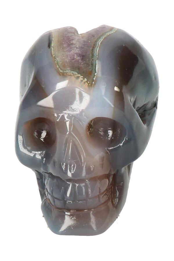 Agaat Geode Kristallen schedel, 8 cm, 281 gram
