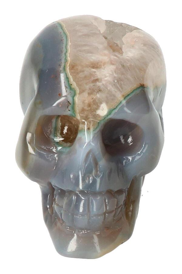 Agaat Geode Kristallen schedel, 8 cm, 285 gram