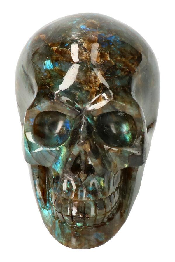Labradoriet edelsteen schedel, 12 cm, 1027 gram