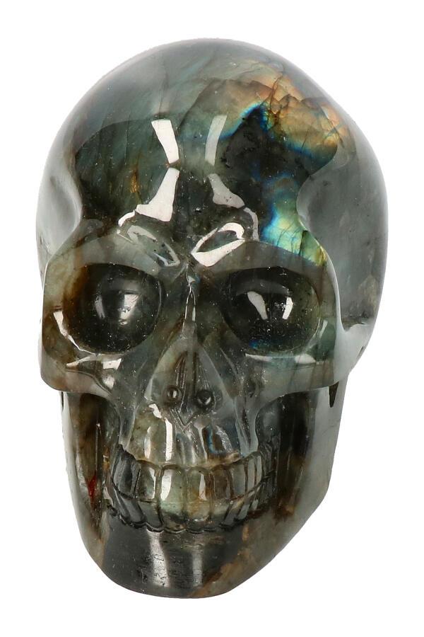 Labradoriet edelsteen schedel, 11 cm, 758 gram