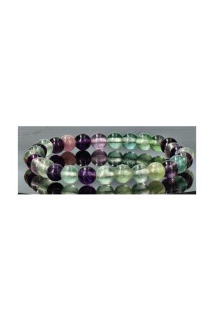 Regenboog Fluoriet armband, 6 mm edelsteen kralen, 18 en 19 cm