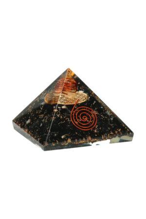 Orgoniet piramide 'Straling Vrij' Toermalijn met Flower of Life, 7.2 cm
