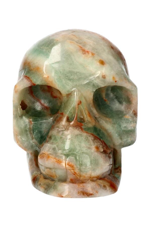Blauwe Aragoniet realistische kristallen schedel, 12.5 cm, 1767 gram