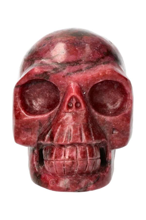 Rhodoniet realistische kristallen schedel, 11 cm, 1188 gram
