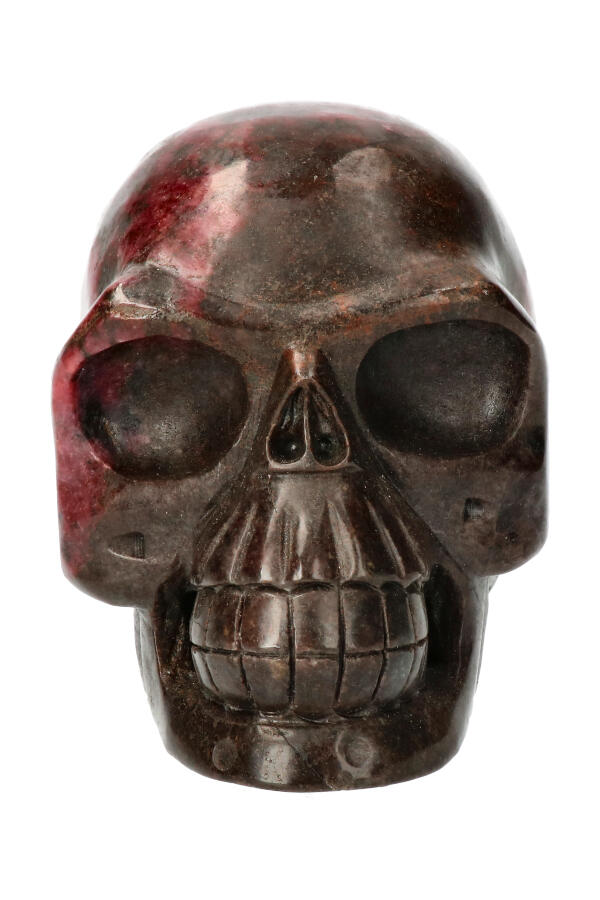Rhodoniet realistische kristallen schedel, 13 cm, 2327 gram