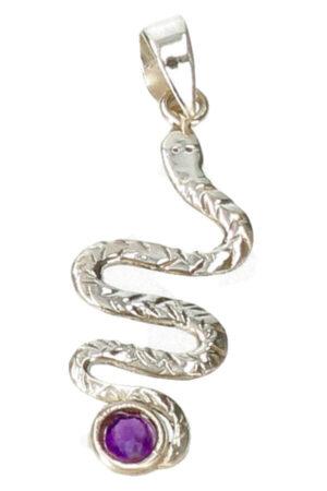 Amethist in zilveren slang, 925 sterling zilveren hanger