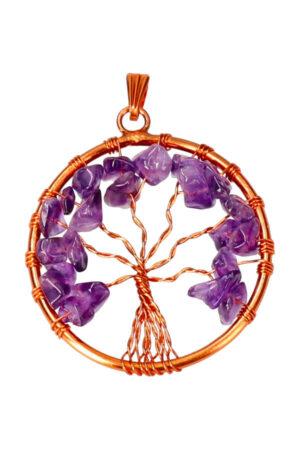Amethist levensboom koperen hanger, 3.5 cm