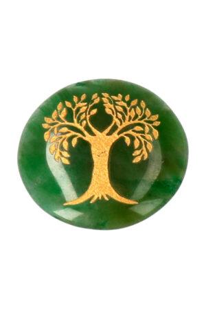 Jade schijf met levensboom circa 3 cm