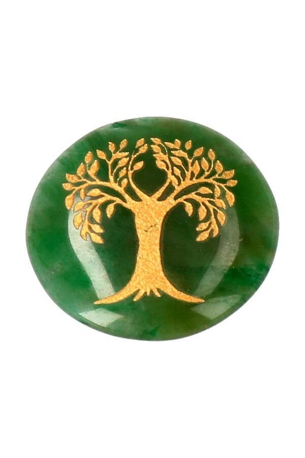 Jade schijf met levensboom, circa 3 cm