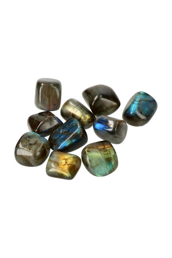 Labradoriet trommelstenen, per steen of zakken van 100 gram tot 1 kilo