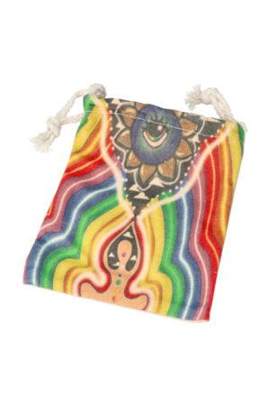 Stoffen zakje 'Chakra Meditatie', 15 cm x 12 cm