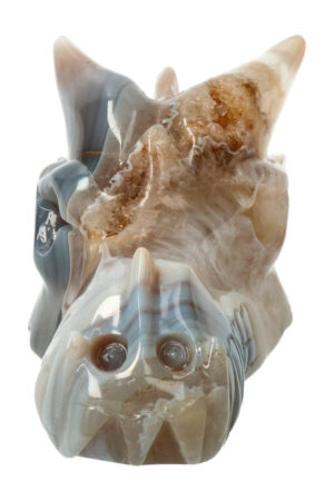Agaat geode kristallen drakenschedel 12.5 cm 409 gram