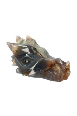 Agaat geode kristallen drakenschedel 11 cm 328 gram