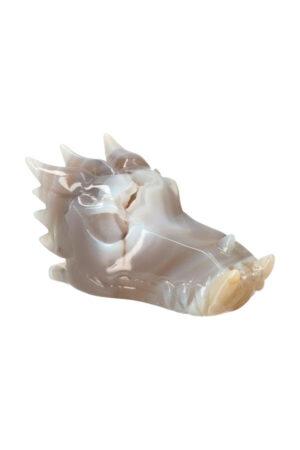Agaat geode kristallen drakenschedel 11 cm 347 gram