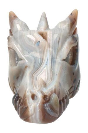 Agaat geode kristallen drakenschedel 11.5 cm 400 gram