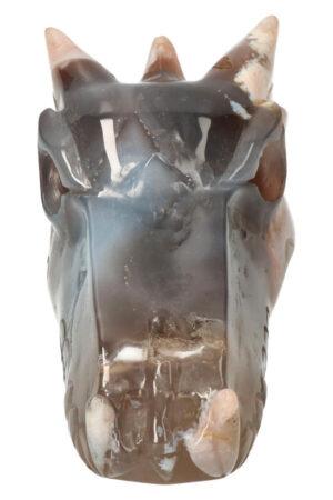 Kersenbloesem Agaat kristallen drakenschedel 16.5 cm 829 gram
