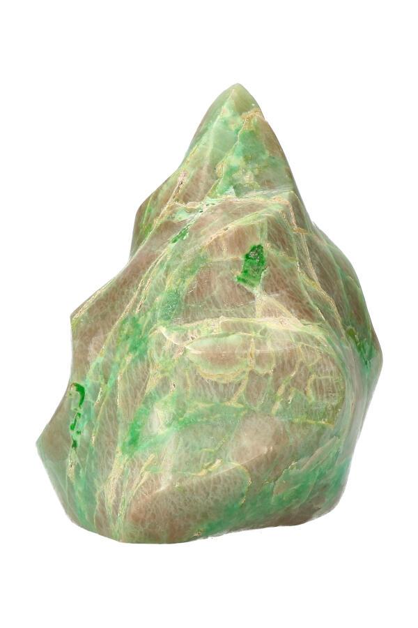 Groene maansteen, vlam sculptuur, 12.5 cm, 845 gram