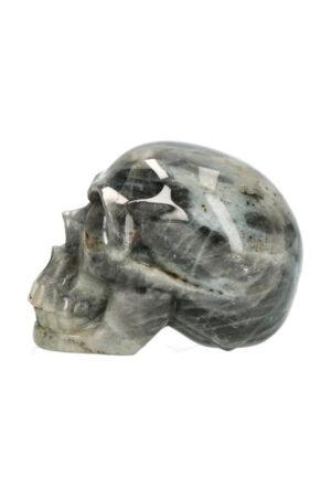 Labradoriet realistische kristallen schedel 9 cm 470 gram