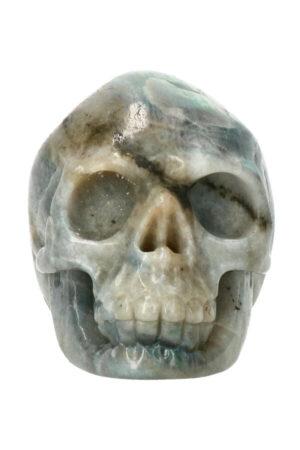 Labradoriet realistische kristallen schedel 9 cm 449 gram