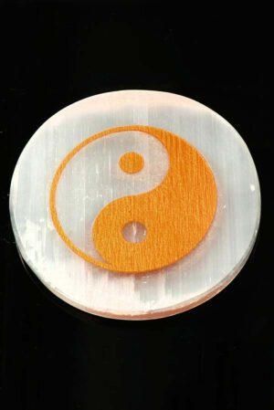 Seleniet Yin Yang onderzetter 9 cm circa 123 gram
