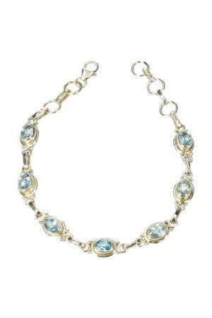 Aquamarijn armband zilver 925 sterling 20 cm