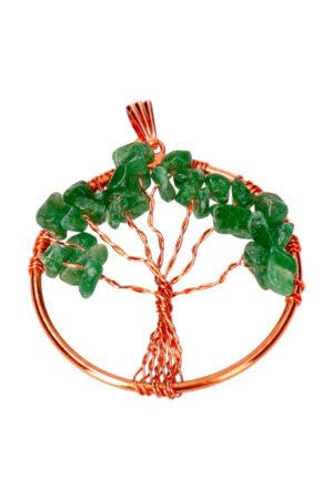 Mosagaat levensboom koperen hanger, 3.5 cm