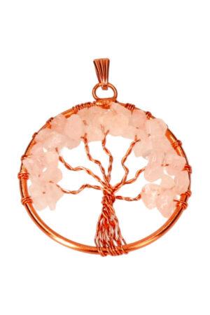 Rozenkwarts levensboom koperen hanger, 3.5 cm
